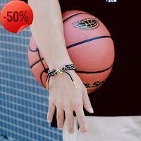 편지 티타늄 강철 남성 팔찌 짠 농구 신발 끈 스포츠 한국어 손목 밴드 연인 학생 모자