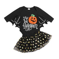 Girl's Dresses 0-18M Infant Baby Girls 2Pcs Clothes Set Halloween Black Batwing Sleeve Romper And Yarn Skirt 2021