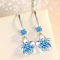 925 Sterling Silber Frauen Modeschmuck Rosa Blau Weiß Kristall Zirkon Lange Quaste Blumenhaken Typ Ohrringe