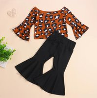 Girls Clothes Sets Casual Leopard Print Off Shoulder Flare Long Sleeve Tops + Solid Color Bell-bottomed Pants