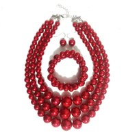 Pendant Necklaces necklace Clavicle pearl nelace set exaggerated multi-layer earring bracelet three piece