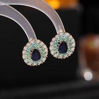 Korean Women Stud Earrings White Green Blue Crystal Zircon Earring for Wedding Party Sweet Elegant Dress Charms Jewelry Accessories