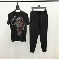Men's Tracksuits Explosive Spring T-Shirt Top Sets Tracksuit Brand Drilling O-Neck 2-Piece High Quality Short Sleeve Summer