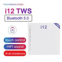 I12 TWS Kablosuz Kulaklıklar Bluetooth V5.0 AP2 Stereo Ses Kulakiçi POR Pencere Beyaz Şarj Kutusu