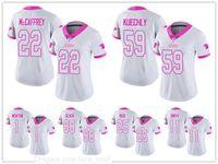 "Carolina ""Panthers"" Frau 22 Christian McCaffrey 1 Cam Newton Limited Jersey Football Weiß Rosa Rush Mode"