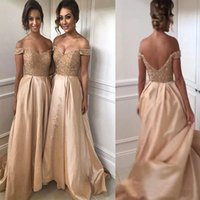 2021 Sexy Bridesmaid Dresses Champagne Gold Maid of Honor Dresses Beaded Lace Top Off the Shoulder Backless Long Wedding Party Gowns