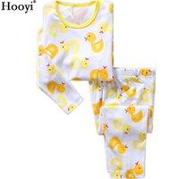 오리 소년 잠옷 정장 100 % 코튼 어린이 잠옷 소년 티셔츠 + 바지 어린이 잠옷 PJ의 아기 잠옷 PJS 210413
