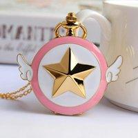 Pocket Watches Japan Anime Cardcaptor Sakura Golden Watch Necklace Star Wings Pendant Chain Clock Women Girls Gift