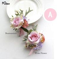 Meldel Boutonniere Corsage Pin Flowers Wedding Bracelets For Bridesmaid Bracelet Flower Men Marriage Decorative & Wreaths