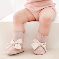Socks Autumn Winter Baby Girls Born Bowknot Infant Anti Slip Soft Cotton Floor Sock Shoes