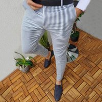 Men's Pants Casual Clothing Slim Fit Stripe Business Formal Office Skinny Long Straight Joggers Sweat