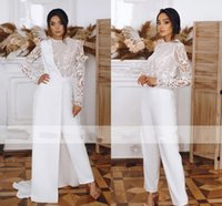 Full Lace Long Sleeve Wedding Dresses Jumpsuit with Half Jacket 2022 Modest Jewel Neck Outdoor Boho Bride Dress Pant Suit Outfit Robes