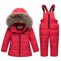 Kids Winter Thin warm Down Jacket Overalls Children clothing set Snowsuit Baby Girl Boy Clothes Parka real fur Coat Toddler 201127