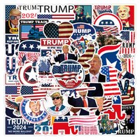 Pack of 50Pcs Wholesale USA President Stickers Trump 2024 Sticker Waterproof No-duplicate Water Bottle Notebook Skateboard Luggage Car Decals Dropshipping