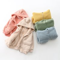 Autumn Spring Children Velvet Zipper With Hood Jacket Boys Long Sleeve Girls Cardigan Outing Clothes