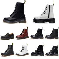 Klassieke Mens Womens Laarzen Zwart Wit Rood Groen Navy Vintage Schoenen Platform Gladde Lederen Kant Boot Winter 36-44