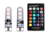سيارة الصمام الأداة اللاسلكية التحكم عن بعد T10 عرض ضوء وامض سيليكون 5050-6SMD القراءة الملونة لوحة ترخيص RGB