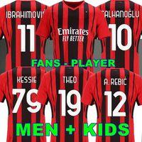 Tailândia 21 22 AC MILAN Soccer Jersey IBRAHIMOVIC fãs versão jogador versão jerseys BRAHIM REBIC MANDZUKIC KESSIE camisa de futebol masculino crianças define uniforme
