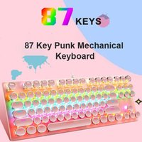 Keyboards 87-Keys Mechanical Keyboard Blue Axis Breathing Light Backlight Electroplated Punk Keycaps Gaming Competitive