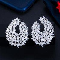 Choucong 브랜드 스터드 귀걸이 고품질의 럭셔리 쥬얼리 18K 화이트 골드 필링 컷 컷 토파즈 CZ 파티 연예인 다이아몬드 보석 여성 신부 귀걸이 선물