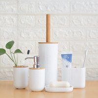 Bamboo Wooden Toothbrush Holder Tumblers Teeth Brushing Cup Emulsion Container Bathroom Kitchen Accessories