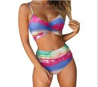 2pcs Sexy Women Summer Swimwear Bikini Set Bra Women Print Push Up Bathing suit High Waist Swimsuit Short Jumpsuits