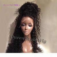 Long Black Water Curly Hair Heat Resistant Glueless Synthetic Lace Front Full Lac Wig Loose Curly Wigs For Black Woman