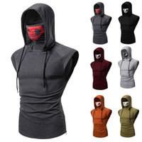 Men's Tank Tops Sleeveless Fitness Hooded Casual Cotton Slim Fit Ninja T-Shirt With Skull Mask
