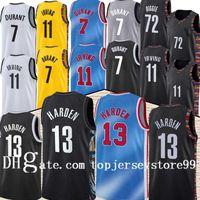 Top Brooklyns 13 Harden Jersey Kevin 7 Durant Kyrie 11 Баскетбол Ирвинг Джерси Черный 2021 Городской Город Синяя Униформа Новый Сезон Баскетбол Жисы