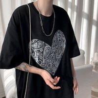 남성 여름 사랑 인쇄 짧은 플레이 느슨한 3 색 남성용 T 셔츠 A071-5501-P25 (제어 38)