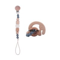 Baby Pacifier Chain Clips Teething Natural Wooden Newborn Accessories Silicone Beads Teether Infant Feeding Teeth Practice Toys Food Grade Soother 2Pcs Sets B8373