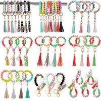 Beaded Keychain Party Favor Wooden Tassel String Chain Food Grade Silicone Bead KeyRing Women Wrist Strap Bracelet by sea T9I001546