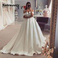 Satin Princess Wedding Dress A Line Off The Shoulder Smiple Bride Dresses Long Train White Ivory Bridal Ball Gown 2022