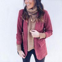 Women's Suits & Blazers 2021 Women Blazer Corduroy Size Plus Winter Fashion Casual Notched Striped Suit Red Lady Tops Stylish Slim Jackets C