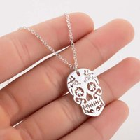 Smjel Gothic Jewelry Skull Skeleton Collane Collane Pendenti per le donne Punk Pirate Choker Mexican Halloween Gifts Collanos 1621 V2