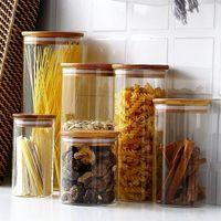 Баночка конфеты для специй Стеклянные прозрачные контейнерные банки с деревянными крышками Кухня печенья и запечатанные бутылки для хранения канистры