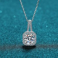 Perfect Passed Diamond Test Excellent Moissanite 925 Sterling Silver Necklace Cut 0.5-2ct Fashion Gem Women Jewelry Chains