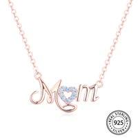 Collar inicial Pure 925 Sterling Silver Custom Name Custom Dam Charm Colgante para mujeres Día de la Madre Regalo Y0420