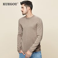 KUEGOU Autumn winter men sweater Pure color round collar pullovers Fashionable joker keep warm top plus size DZ-11867 210524