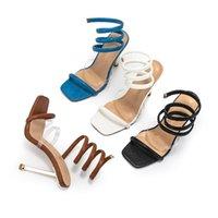 Sandals Plus Size 2021 Summer Designer Women's Slippers Black High-heeled Two Belt Roman Slides Fairy Wind