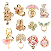 DHL Universal 360 Degree Crystal Metal Finger Ring Holder Multi Designs Phone Stand For iPhone Samsung Mobile Phones