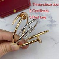 Braccialetti classici in argento oro braccialetto in argento titanio braccialetto del braccialetto del polsino Nlay Diamond Nail Braccialetti Donne da uomo Amore regalo gioielli C80021 con scatola
