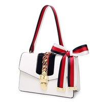 Bagsbowknot Luxurys Luxurys Bagsnet Bagsatin Kırmızı Yeni kadın Yabancı Stil Zincir Kilit El Tek Omuz Messenger Çanta Küçük Kare