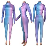 Rainbow Print Tracksuits Women's Set Long Sleeve Lucky Label Embroidery Top Pants Suit Tracksuit Two Piece Sets Fitness Outfits 2XL