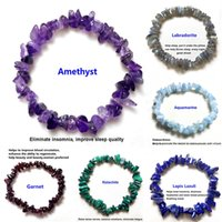 Irregular Natural Crystals 7 Chakras Stone Bracelets Beads Pink Quartz Amethyst Aventurine Jewelry Making DIY Adjustable String For Friends Handmade Lovely Gift
