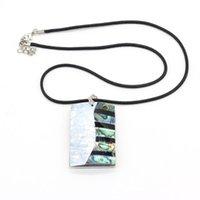 Цепи Натуральное abalone Shell Ожерелье с длиной каната 55 + 5см Изысканный прямоугольник Форма для формы для MS ювелирных изделий подарок 34x54 мм