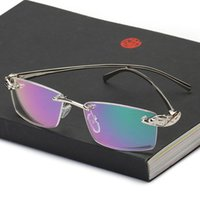 أزياء النظارات الشمسية إطارات ضفي بدون شفة نظارات الرجال نظارات الذهب الذكور العلامة التجارية مصمم الفهد نظارات فرملس لصفة الطبية