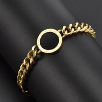 Link, Chain Luxury Jewelry Rose Gold Stainless Steel Roman Numerals Chunky Bracelets & Bangles Female Charm Bracelet For Women