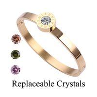 New Classic Design Replaceable Crystals 6cm Zircon Steel Roman Numerals Bracelets & Bangles Women Fashion Jewelry Bangles