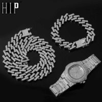 Watch +Chain+Bracelet Hip Hop Bling Iced Out Crystal 15MM Cuban Paved Rhinestone Miami Zircon Men's Necklaces Men Jewelry